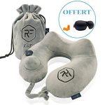 Coussin de voyage RelFit – Oreiller cervicales gonflable ergonomique de qualité PREMIUM, Tour de nuque avec En CADEAU : masque sommeil + bouchons d'oreilles - Kit confort pour dormir en voiture/avion de la marque RelFit image 1 produit