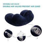 LUZWAY Oreiller de Voyage Gonflable avec Double Vanne, Coussin de Cou Gonflable de Velours Doux et Housse Lavable avec Bouchon d'Oreille et Masque pour les Yeux [Bleu] de la marque LUZWAY image 3 produit
